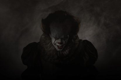 "Bill Skarsgard stars as the eponymous Pennywise in ""It"""